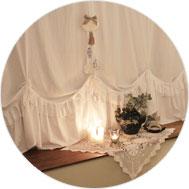이니김<br/>화사한 침실을 만들어주는<br/>화이트 린넨 프로방스 커튼